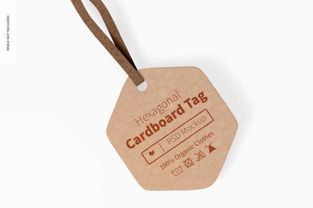 Maquette d'étiquette en carton hexagonale, vue de dessus