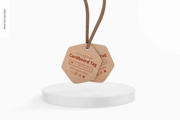 Maquette d'étiquette en carton hexagonale, vue de face