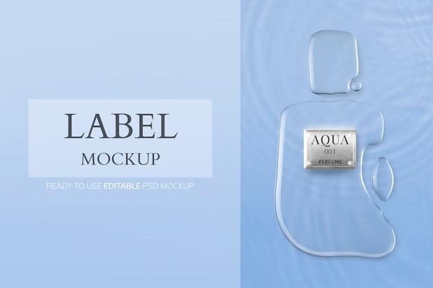 Maquette d'étiquette de parfum, image de marque de produit pour la beauté et les soins de la peau psd