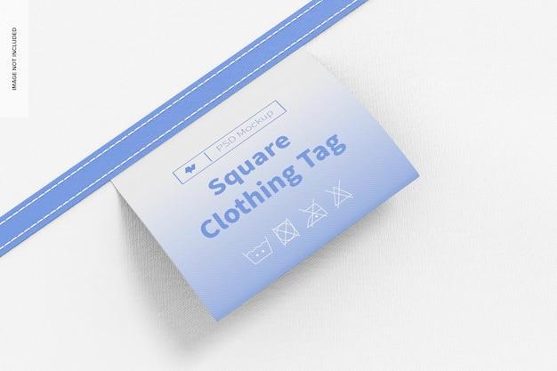 Maquette d'étiquette de vêtement carré, gros plan