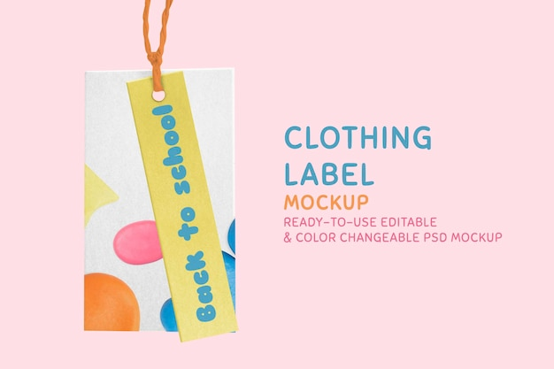 Maquette d'étiquette de vêtements psd avec dessin abstrait