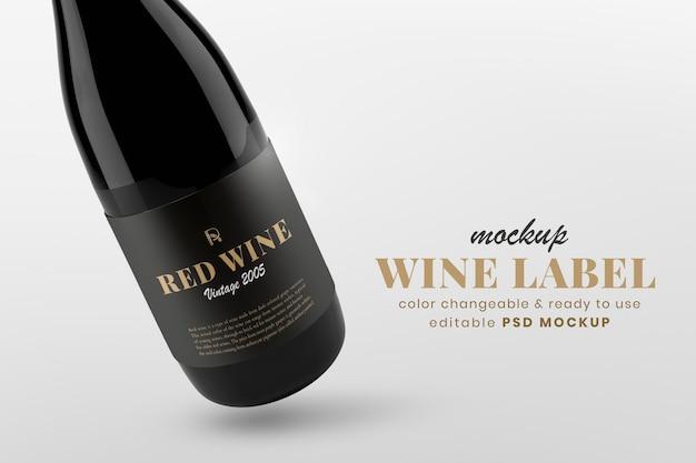 Maquette d'étiquette de vin psd, conception de bouteille modifiable