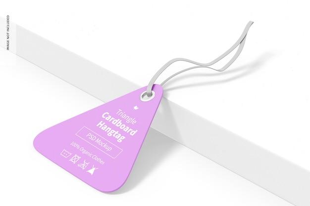 Maquette d'étiquette volante en carton triangulaire, perspective