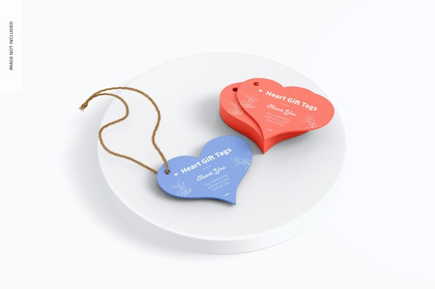 Maquette d'étiquettes-cadeaux coeur, vue de dessus