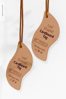Maquette d'étiquettes en carton en forme de feuille, perspective