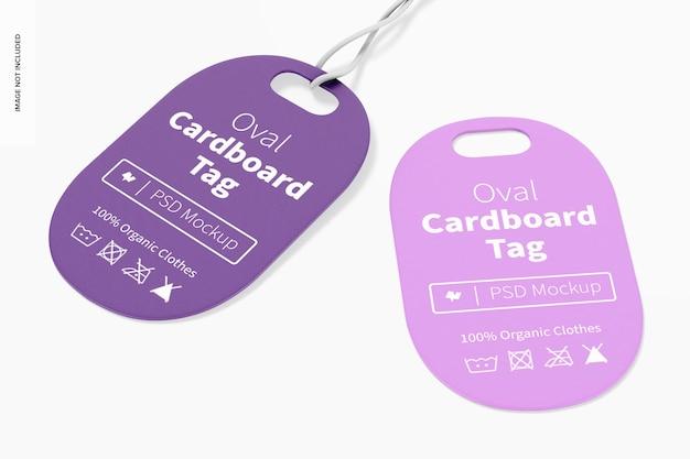 Maquette d'étiquettes en carton ovale, vue de dessus