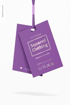 Maquette d'étiquettes de vêtements au carré, suspendue