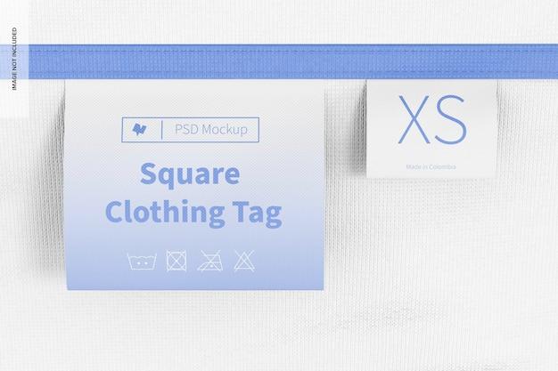 Maquette d'étiquettes de vêtements carrés, vue de face