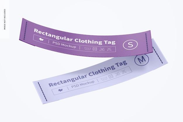Maquette d'étiquettes de vêtements rectangulaires, flottant
