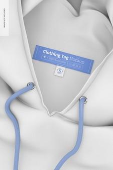 Maquette d'étiquettes de vêtements, sur le sweat à capuche