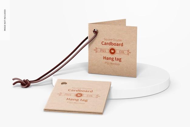 Maquette d'étiquettes volantes carrées en carton double, vue de face