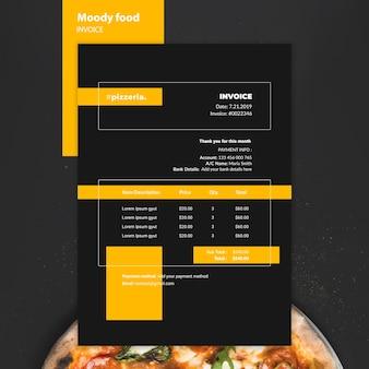 Maquette de la facture alimentaire du restaurant moody