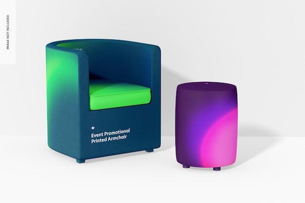 Maquette de fauteuil imprimé promotionnel pour événement, perspective
