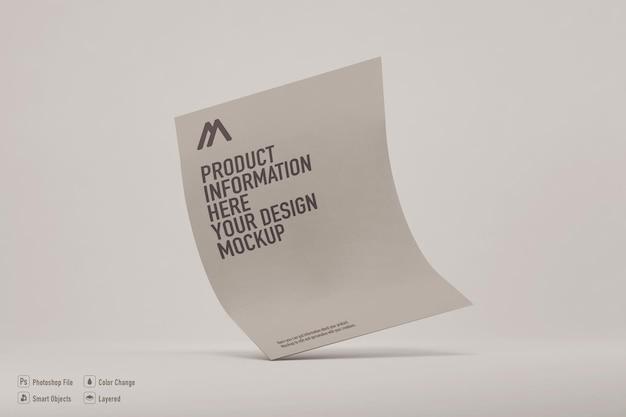 Maquette de feuille de papier sur une couleur douce