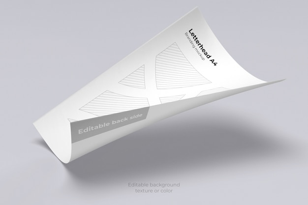 Maquette de feuille de papier à en-tête flottant isolé