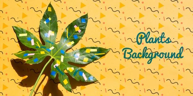 Maquette de feuilles de plantes peintes
