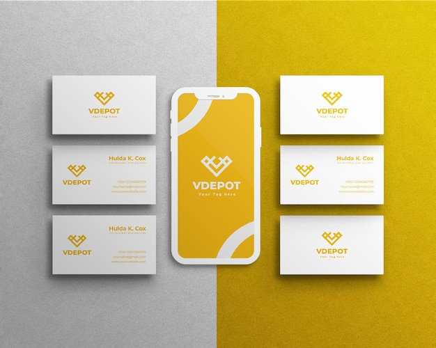 Maquette fixe d'entreprise ou carte de visite et téléphone portable