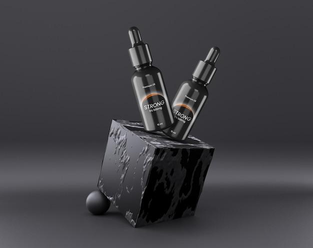 Maquette de flacon compte-gouttes de cosmétiques noirs de luxe
