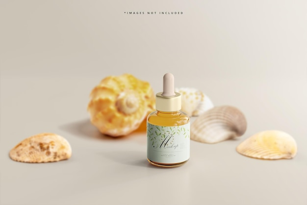 Maquette de flacon compte-gouttes en verre ambré avec coquillages