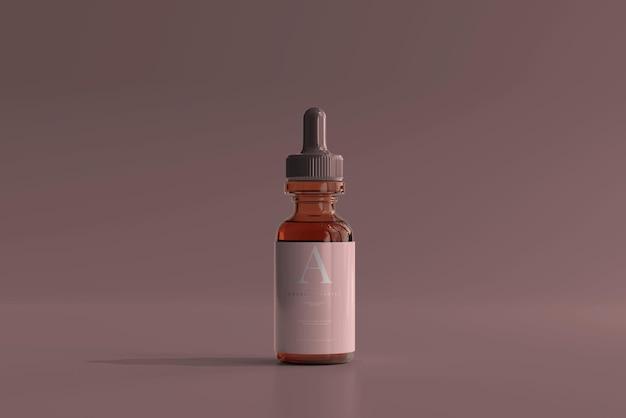 Maquette de flacon compte-gouttes en verre ambré