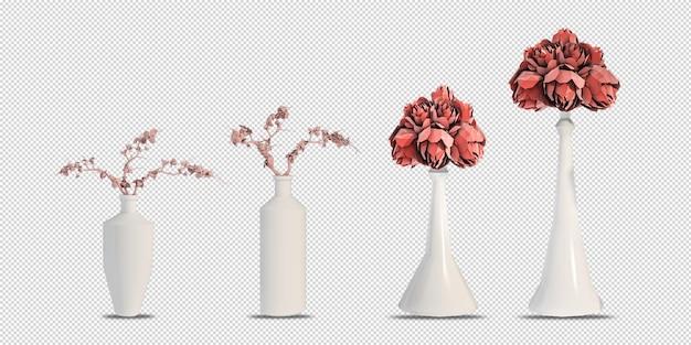 Maquette de fleurs en rendu 3d isolé