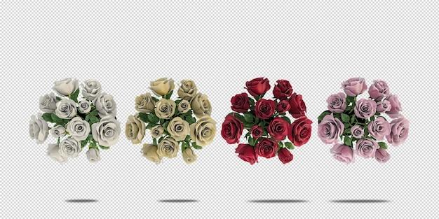 Maquette de fleurs vue de dessus en rendu 3d isolé