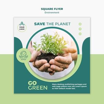 Maquette de flyer carré environnement