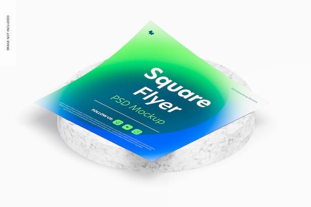Maquette de flyer carré, vue isométrique