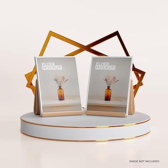 Maquette de flyer avec un design de podium simple