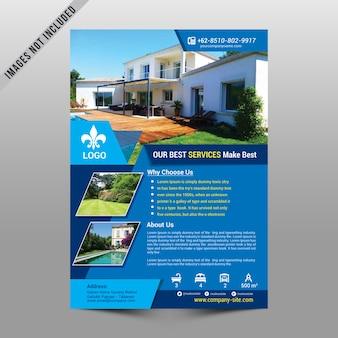 Maquette de flyer immobilier bleu
