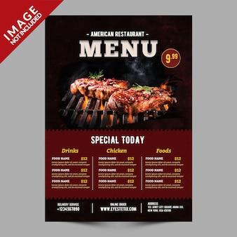 Maquette de flyer de menu de nourriture