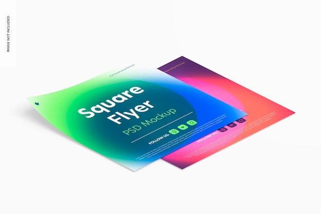 Maquette de flyers carrés, vue de droite isométrique
