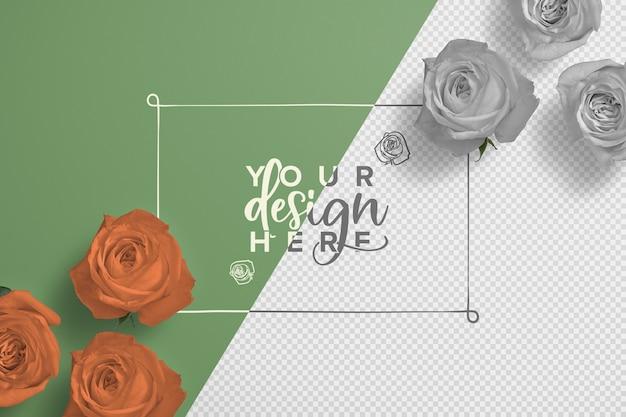 Maquette de fond de cadre de roses