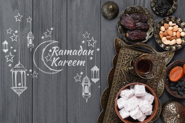 Maquette de fond avec le concept de ramadan