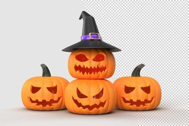 Maquette de fond d'halloween avec des citrouilles et un chapeau de sorcière. maquette de concept d'halloween