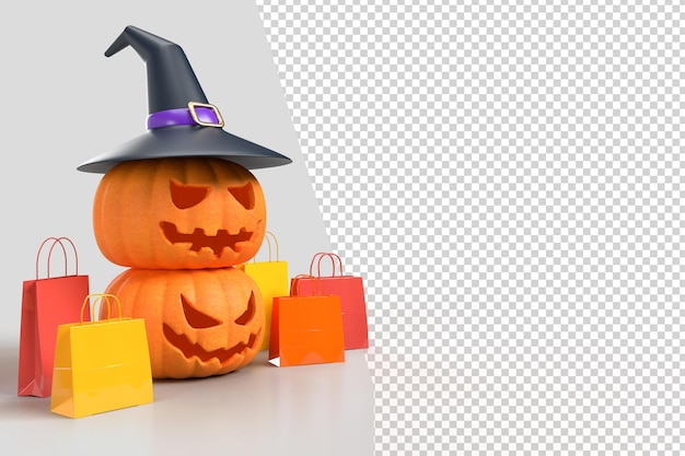 Maquette de fond d'halloween avec des citrouilles, un chapeau de sorcière et un sac à provisions. conçoit le marketing de concept en ligne