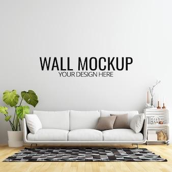 Maquette de fond de mur de salon intérieur avec meubles et décoration