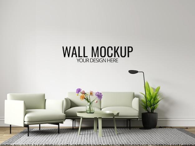 Maquette de fond de mur de salon intérieur moderne avec des meubles et un décor