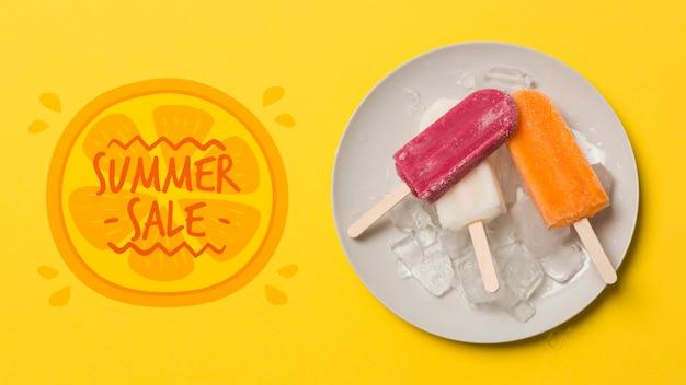Maquette de fond plat avec crème glacée