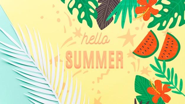 Maquette de fond plat laïque pour les concepts de l'été