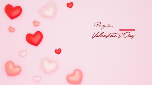Maquette de fond de la saint-valentin avec un rendu 3d en forme de coeur