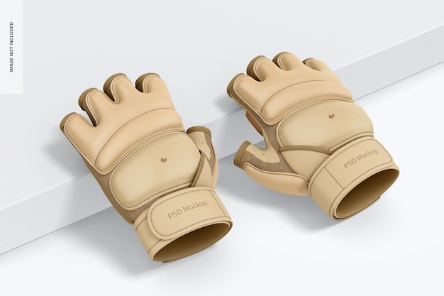 Maquette de gants de taekwondo, penchée