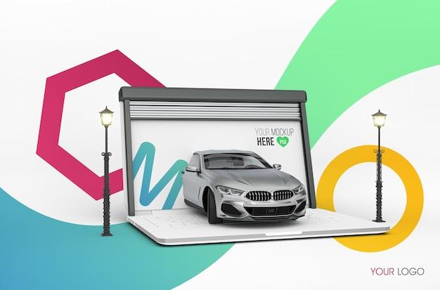 Maquette de garage pour ordinateur portable 3d
