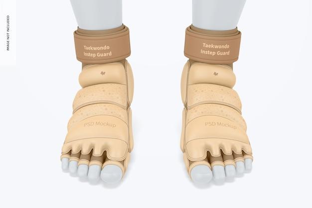 Maquette de garde-pieds de taekwondo, vue de face