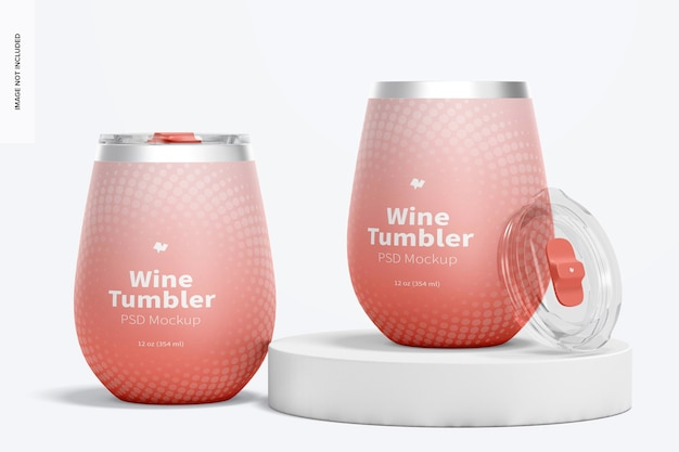 Maquette de gobelets à vin de 12 oz, perspective