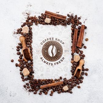 Maquette de grains de café vue de dessus