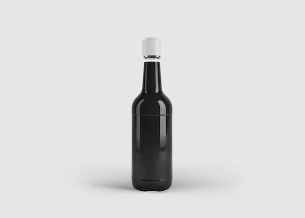 Maquette de grande bouteille de jus ou de sauce élégante avec étiquette personnalisée dans une scène de studio propre