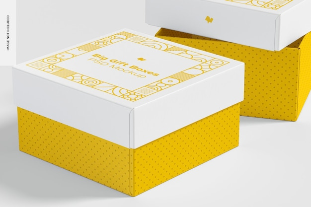 Maquette de grandes boîtes-cadeaux, gros plan