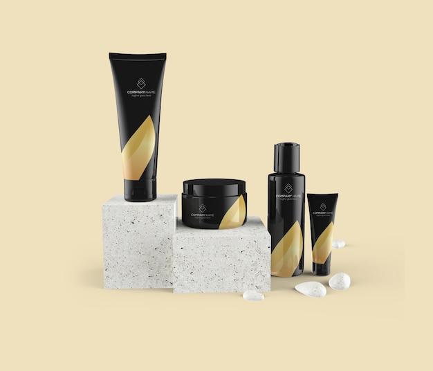 Maquette de groupe de produits cosmétiques