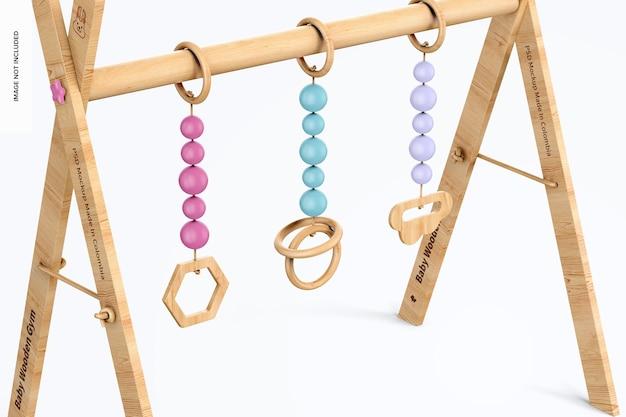 Maquette de gym en bois pour bébé, gros plan